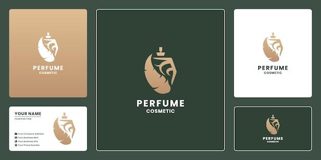 高級フェザー香水瓶化粧品のロゴデザインを組み合わせた