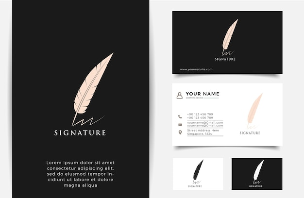 Luxury feather signature logo vector and business card