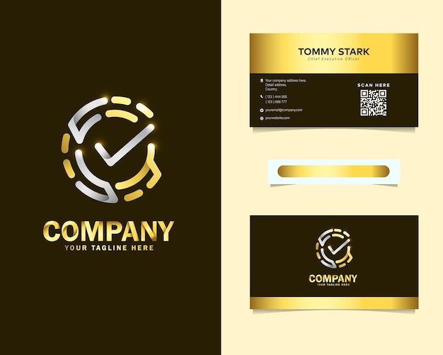 Luxury fingerprint check logo with stationery business card template