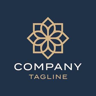 豪華なフラット抽象的な花曼荼羅エレガントなゴールドイスラム装飾ロゴデザイン