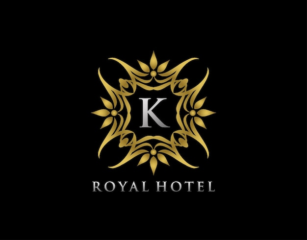 Luxury  floral badge design  for royalty letter stamp boutique  hotel heraldic jewelry wedding
