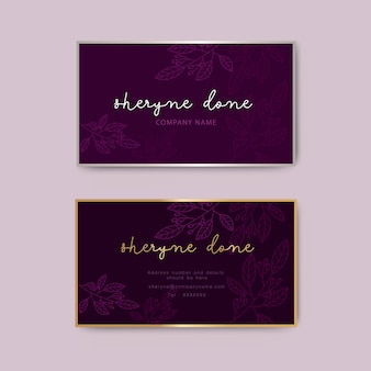 Luxury floral business card template