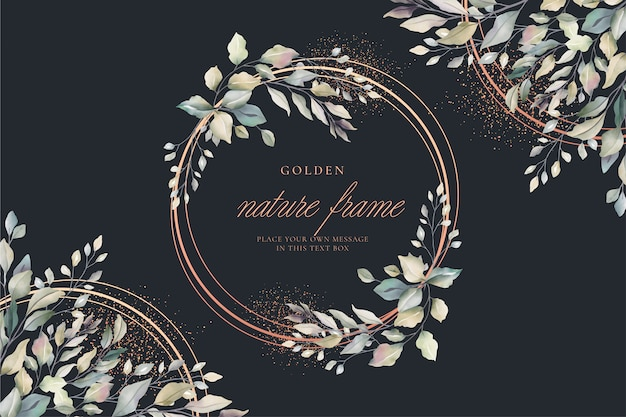 Luxury floral card with golden frame