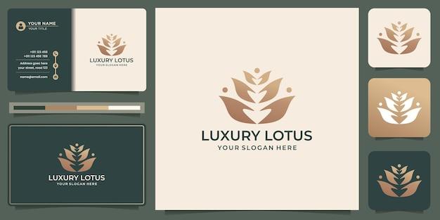 Роскошный цветочный логотип лотоса и креативный дизайн концепции для вашего бизнеса роскоши, моды, спа-салона красоты.