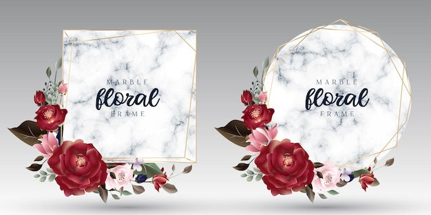 Luxury floral and marble geometrical golden frames