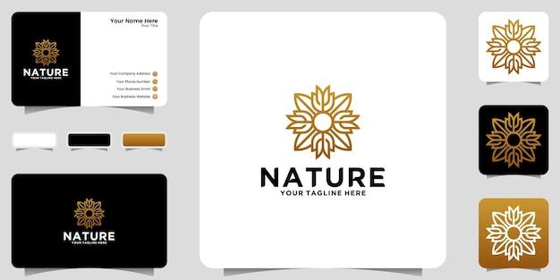 豪華な花飾りのロゴデザインのインスピレーションアイコンと名刺のデザイン