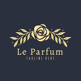 Luxury floral perfume logo concept