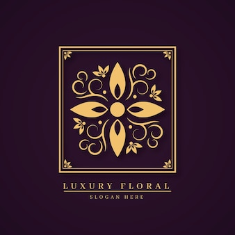 Luxury floral perfume logo concept