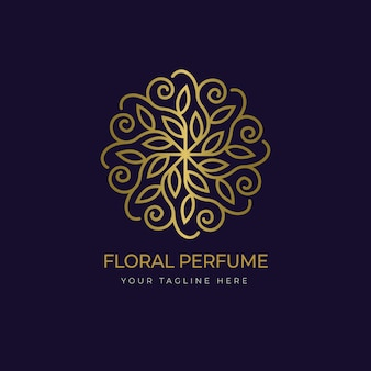 Luxury floral perfume logo template