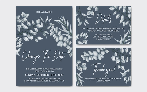 Luxury floral postponed wedding invitation card