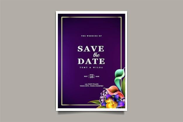 豪華な花の結婚式の招待カード