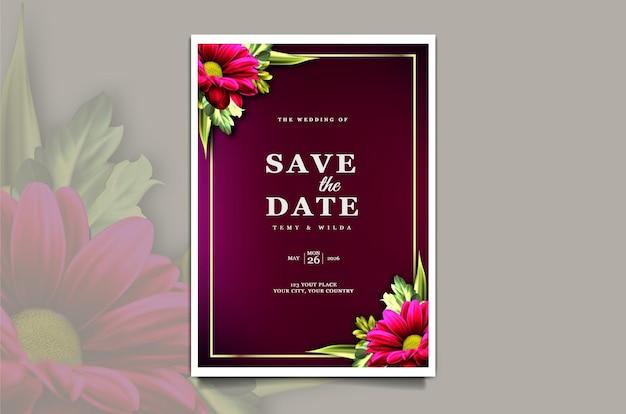Carta di invito di nozze floreale di lusso