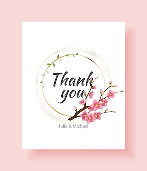 Роскошный цветочный дизайн свадебного приглашения или шаблон поздравительной открытки с веткой сакуры и цветами.