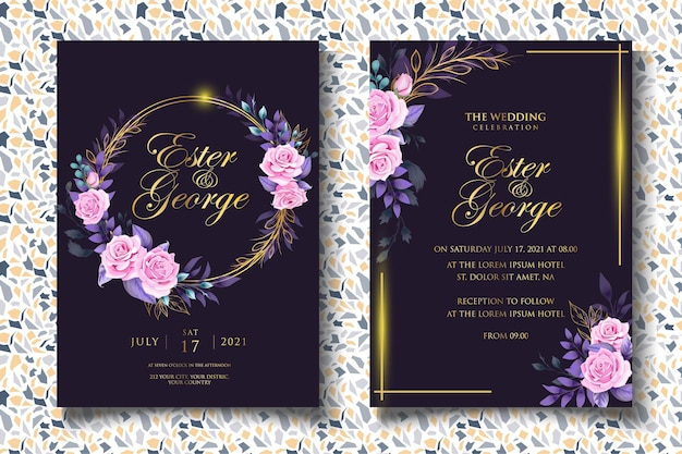 豪華な花の結婚式の招待状のテンプレート