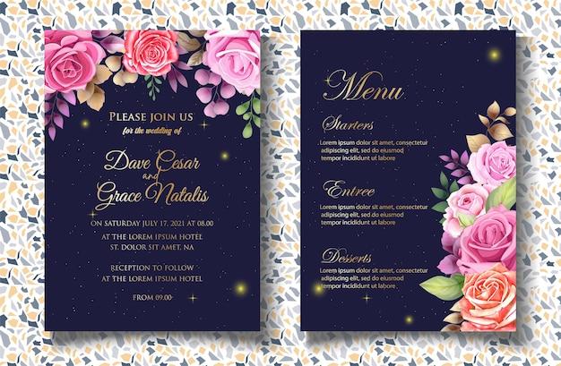 럭셔리 꽃 결혼식 초대장 서식 파일
