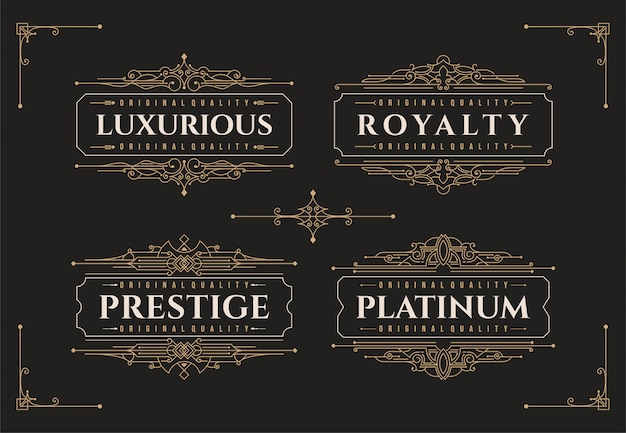 Luxury flourishes ornament frame decoration logo design template