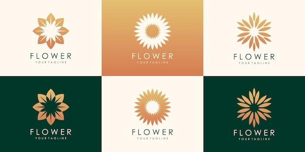 럭셔리 플라워 골드 로고 디자인. 선형 보편적 인 잎 꽃 로고