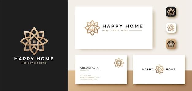 Роскошный цветочный дом с логотипом и дизайн визитной карточки Premium векторы