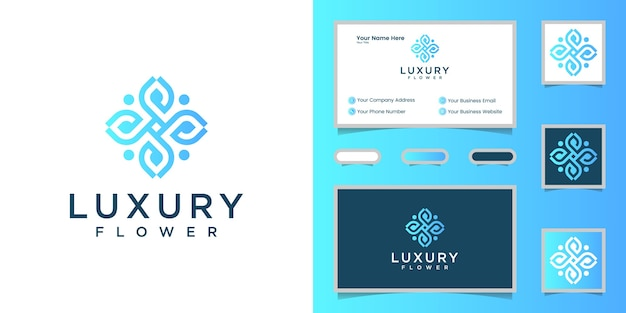 Luxury flower line art logo template and business card