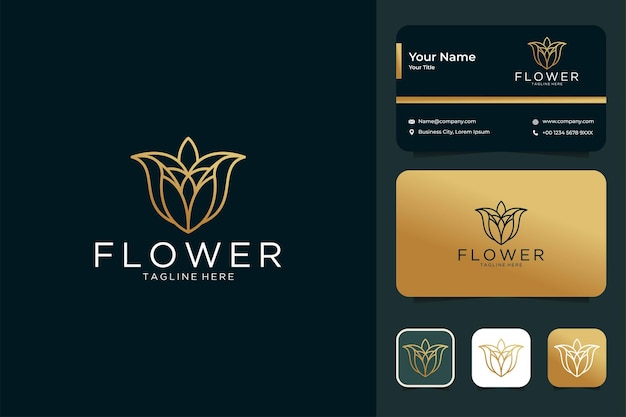 Luxury flower line art style logo design and business card