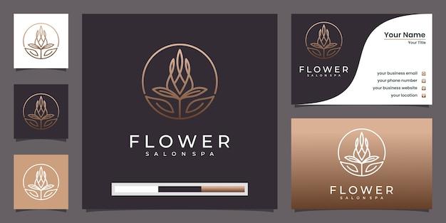 豪華な花のロゴの抽象的な線形スタイル。ループチューリップローズラインのロゴと名刺