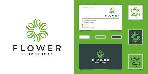 Luxury flower logo for beauty, cosmetics, yoga and spa. logo design and business card