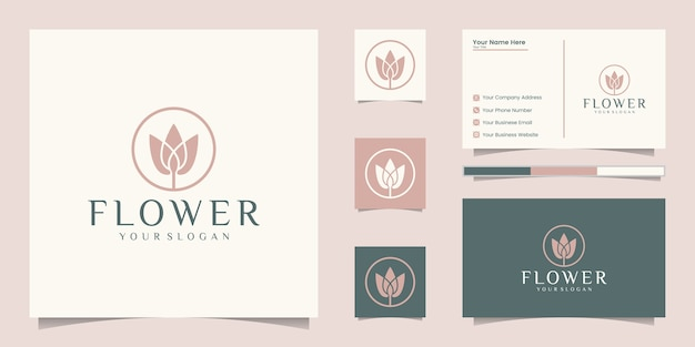 豪華な花のロゴのデザインと名刺
