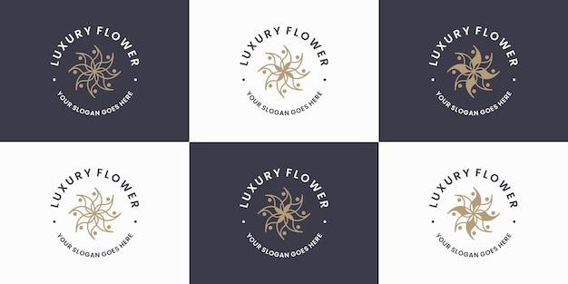 Роскошный цветочный дизайн логотипа в стиле ретро для флориста
