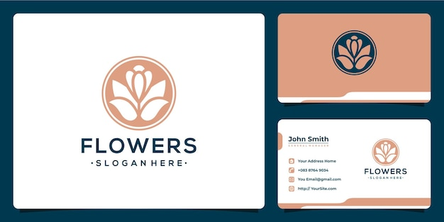 Luxury flower logo design and business card