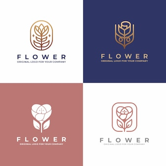 Luxury flower logo design. creative unique beauty, fashion, salon logo design collection.