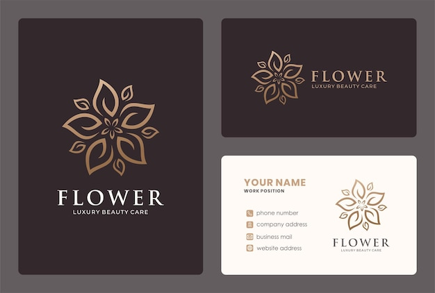 Luxury flower logo design with a leaf ornament in a circle shape.