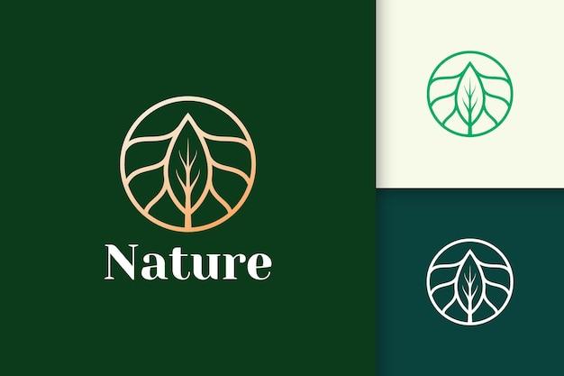 健康と美容のための円と葉の形をした豪華な花のロゴ