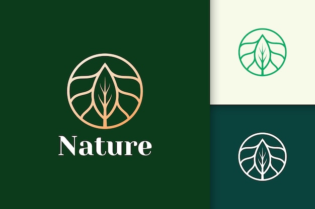Luxury flower logo with circle and leaf shape for health and beauty