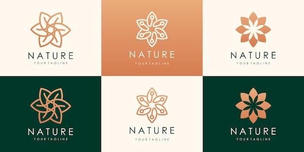 럭셔리 플라워 로터스 골드 로고 디자인. 선형 보편적 인 잎 꽃 로고