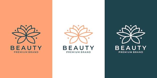 サロン、スパ、ファッション、ホテルなどの豪華な花蓮のロゴデザイン