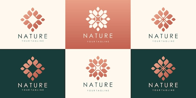 豪華な花蓮のロゴデザイン。線形ユニバーサルリーフ花のロゴ