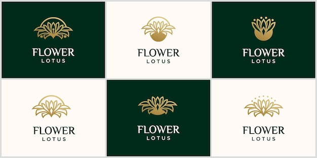 Роскошный цветок лотоса логотип шаблон золотая линия лотос логотип лотос логотип вектор арт дизайн с золотым цветом