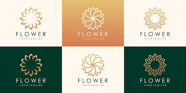 Роскошный цветочный векторный логотип. линейный универсальный лист цветочный шаблон дизайна логотипа.