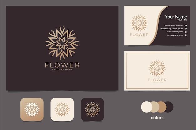 골드 컬러 로고 디자인 및 명함이있는 고급 꽃