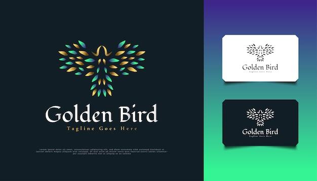 グリーンとゴールドの豪華なフライングバードのロゴデザイン
