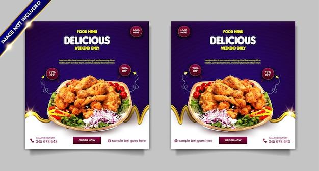 Set di modelli di post banner per social media con pollo delizioso menu di cibo di lusso