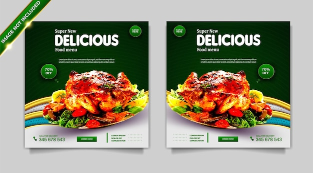 Set di modelli di post banner per la promozione dei social media alimentari di lusso Vettore gratuito