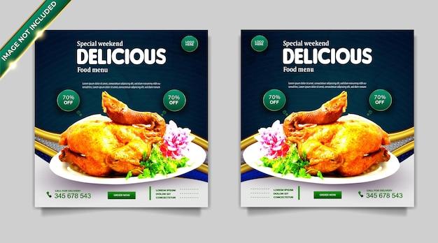Set di modelli di post banner per la promozione dei social media alimentari di lusso