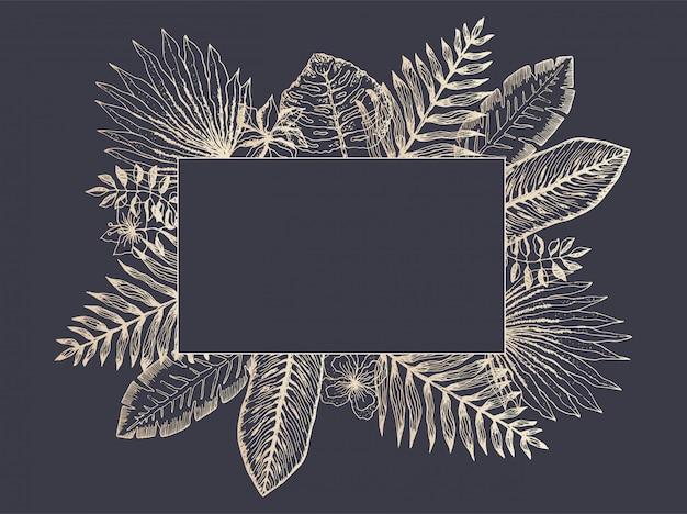 Luxury frame of golden tropical leaves on black