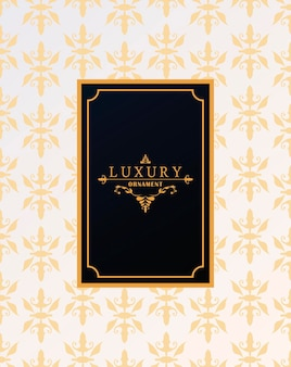 Luxury frame with victorian style in golden figures background