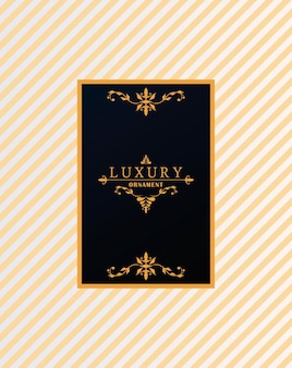 Luxury frame with victorian style in golden stripes background