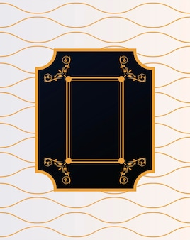 Luxury frame with victorian style in golden waves background