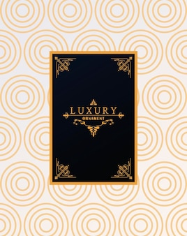 Luxury frame with victorian style in golden waves figures background