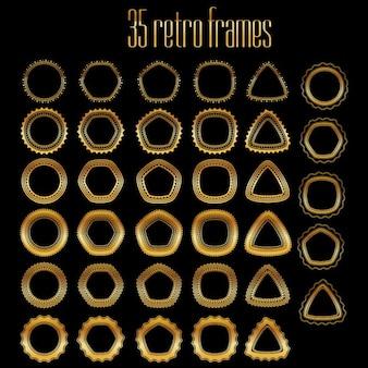 Raccolta di cornici dorate 35 vettoriali per timbri e sigilli tutte le spazzole collegati