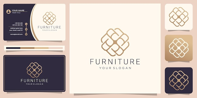 Luxury furniture line art abstract logo and business card